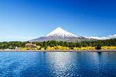 Osorno volcano and Llanquihue Lake, Parque Nacional Vicente Pérez Rosales, Lake District, Puerto Varas, Chile.