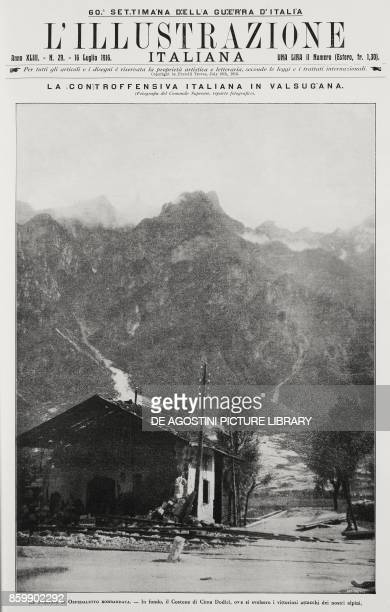 Ospedaletto station in Valsugana at the foot of Cima Dodici after the bombing of the Battle of the Plateaux Italy World War I from L'Illustrazione...