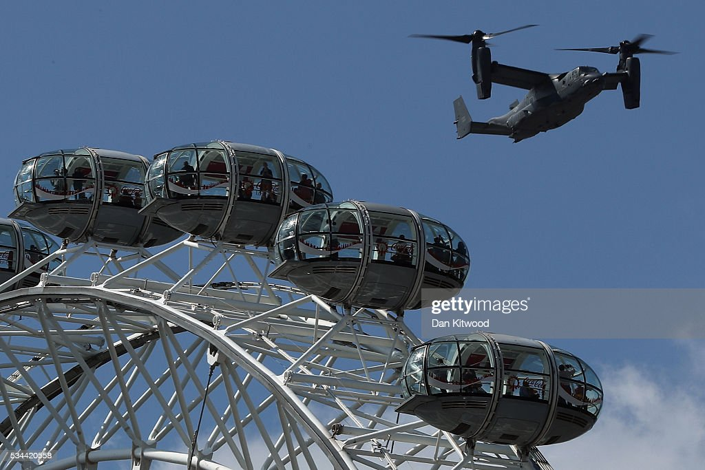 Osprey aircraft makes it's way down the Thames over the London Eye on May 26, 2016 in London, England.