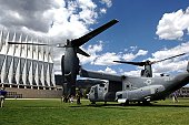 A CV-22 Osprey sits on display at the U.S. Air Force Academy May 11.  Cadets in the Department of Aeronautical Engineering's High-Performance Computing Research Center contributed to making this aircr