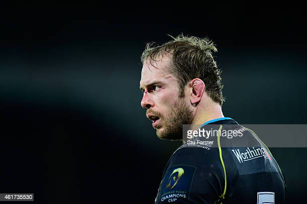 Ospreys captain Alun Wyn Jones looks on during the European Rugby Champions Cup match between Ospreys and Northampton Saints at Liberty Stadium on...