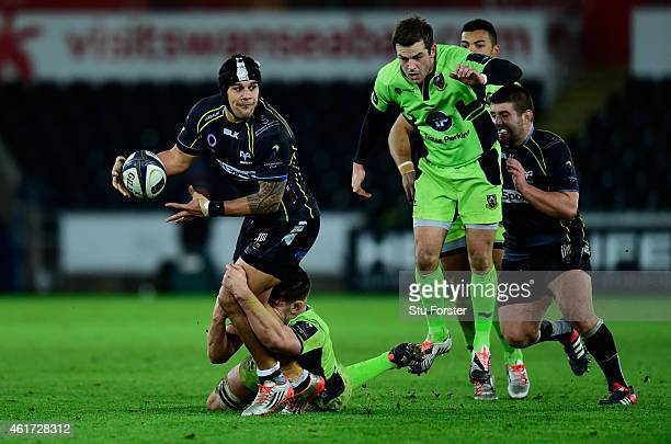 Ospreys centre Josh Matavesi makes a break during the European Rugby Champions Cup match between Ospreys and Northampton Saints at Liberty Stadium on...