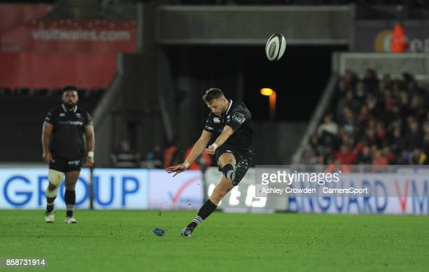 Ospreys' Dan Biggar kicks a penalty during the Guinness Pro14 Round 6 match between Ospreys and Scarlets at Liberty Stadium on October 7 2017 in...