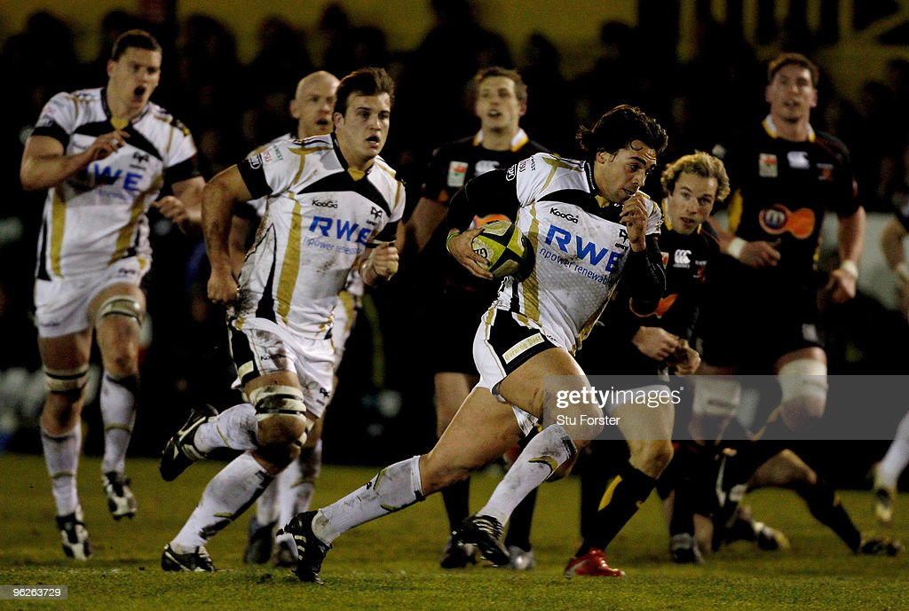 Ospreys fly half Gareth Owen breaks away to score during the LV Anglo Welsh Cup match between Newport Gwent Dragons and Opsreys at Rodney Parade on...