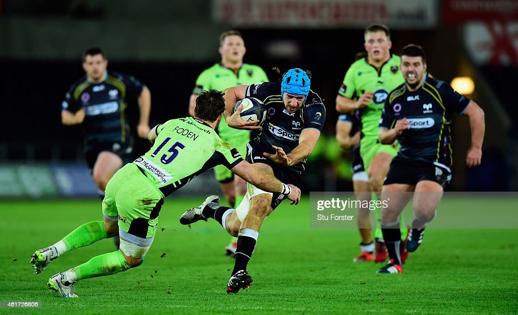 Ospreys forward Justin Tipuric makes a break during the European Rugby Champions Cup match between Ospreys and Northampton Saints at Liberty Stadium...