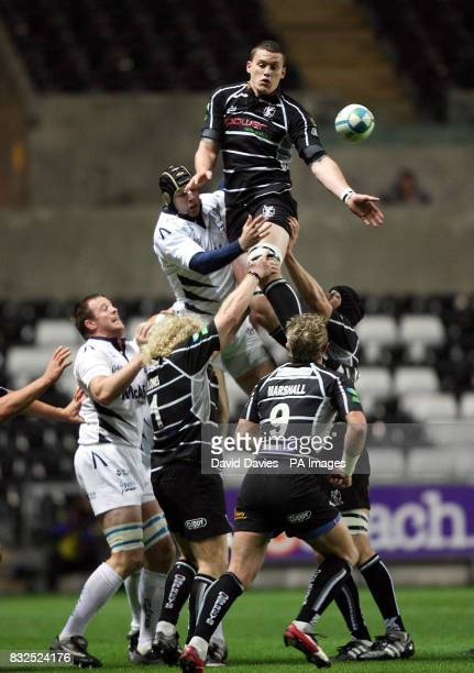 Osprey's Ian Evans wins a lineout against Sale during the Heineken Cup match at the Liberty Stadium Swansea