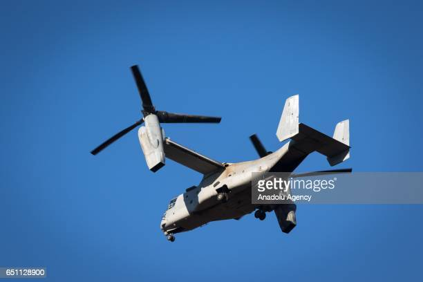 Ospreys is seen flying during a joint training drill of US Marines and Japan's Ground Self Defense Force in JGSDF Camp Soumagahara Gunma prefecture...