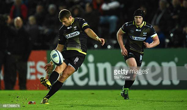 Ospreys player Dan Biggar kicks a penalty during the European Rugby Champions Cup Pool 2 round 1 match between Ospreys and Exeter Chiefs at Liberty...