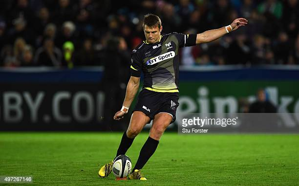 Ospreys player Dan Biggar kicks the games first points during the European Rugby Champions Cup Pool 2 round 1 match between Ospreys and Exeter Chiefs...