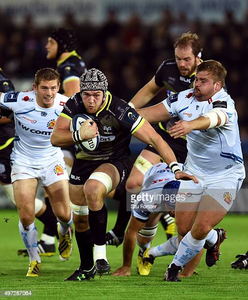 Ospreys player Dan Lydiate makes a break during the European Rugby Champions Cup Pool 2 round 1 match between Ospreys and Exeter Chiefs at Liberty...