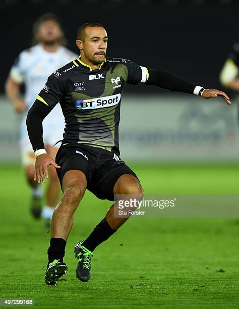 Ospreys player Eli Walker in action during the European Rugby Champions Cup Pool 2 round 1 match between Ospreys and Exeter Chiefs at Liberty Stadium...