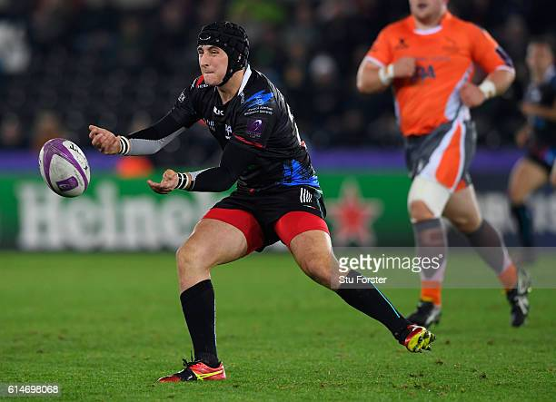 Ospreys player Sam Davies in action during the European Rugby Challenge Cup match Ospreys and Newcastle Falcons at The Liberty Stadium on October 14...
