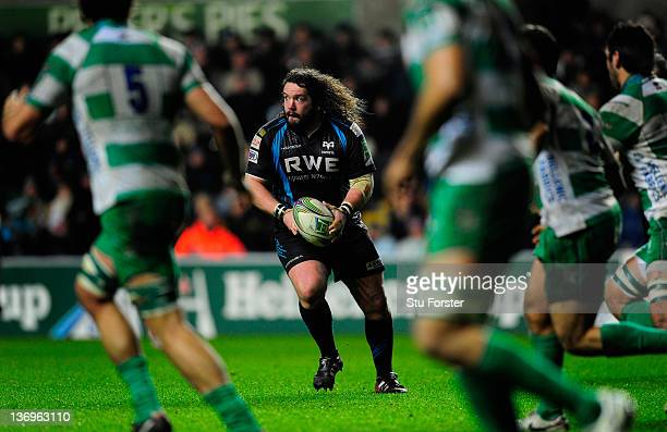 Ospreys prop Adam Jones in action during the Heineken Cup pool five match between Ospreys and Benetton Treviso at Liberty Stadium on January 13 2012...
