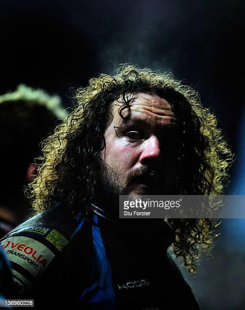 Ospreys prop Adam Jones prepares to scrum down during the Heineken Cup pool five match between Ospreys and Benetton Treviso at Liberty Stadium on...
