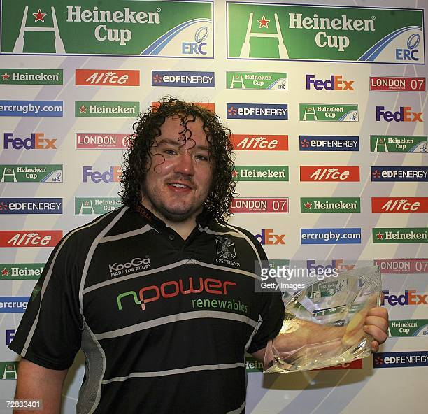 Ospreys prop and man of the match Adam Jones poses with his award after the Heineken Cup Pool 3 Match between Ospreys and Calvisano at Liberty...
