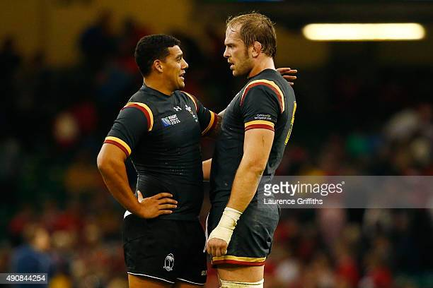 Ospreys teammates Josh Matavesi of Fiji and Alun Wyn Jones of Wales greet each other after the 2015 Rugby World Cup Pool A match between Wales and...