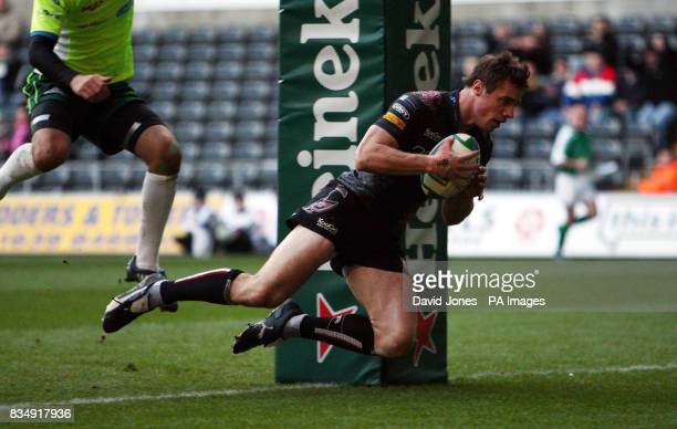 Ospreys' Tommy Bowe scores under the posts during the Heineken Cup match at the Liberty Stadium Swansea