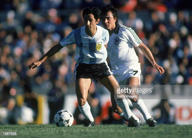 Ossie Ardiles of Argentina runs with the ball during the International Friendly match between Argentina and West Germany held on July 12 1977 in...