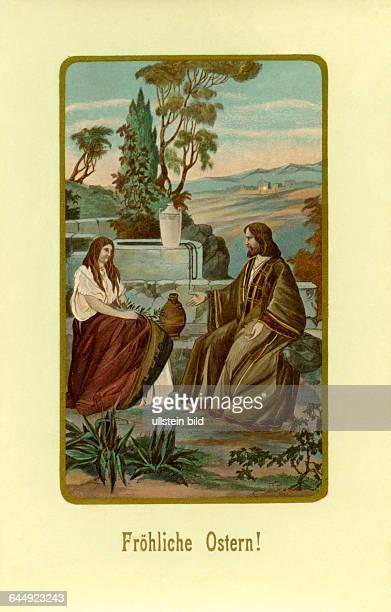 Osterkarte verschickt im Jahre 1913 ' Fröhliche Ostern ' ' Frau am Brunnen ' / ' Jesus und die Samariterin ' Geschichte aus dem Neuen Testament...
