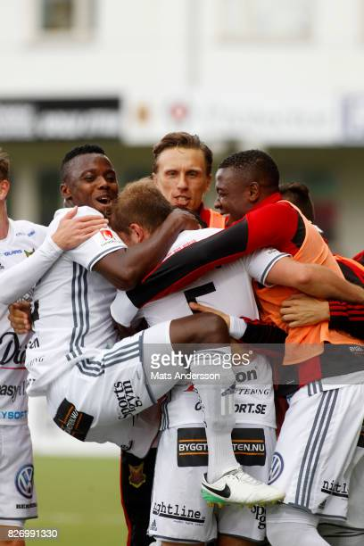 Ostersunds FK celebrates after scoring during the Allsvenskan match between GIF Sundsvall and Ostersunds FK at Berners Arena on August 6 2017 in...