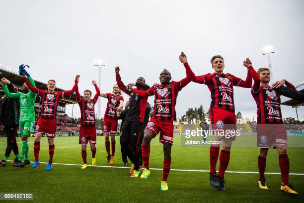 Ostersunds FK celebrates after the victory during the Allsvenskan match between Ostersunds FK and IFK Norrkoping at Jamtkraft Arena on April 9 2017...