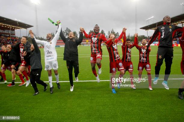 Ostersunds FK celebrates after the victory of the Allsvenskan match between Ostersunds FK and Djurgarden at Jamtkraft Arena on July 16 2017 in...
