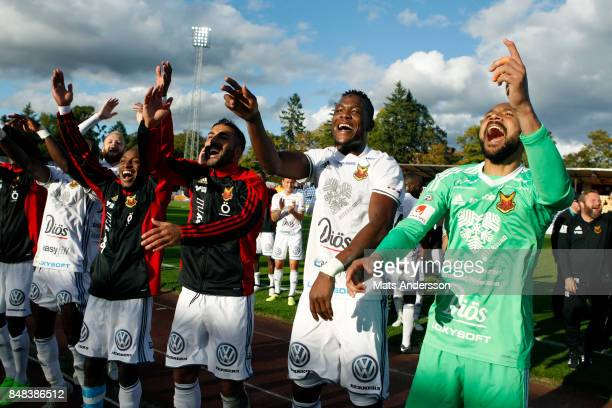 Ostersunds FK celebrates after the victory of the Allsvenskan match between IK Sirius FK and Ostersunds FK at Studenternas IP on September 17 2017 in...