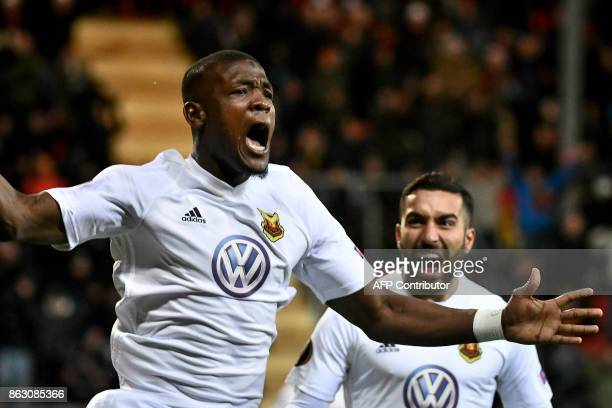 Ostersunds' forward from Nigeria Alhaji Gero celebrates scoring with Saman Ostersunds' midfielder from Iran Saman Ghoddos during the UEFA Europa...