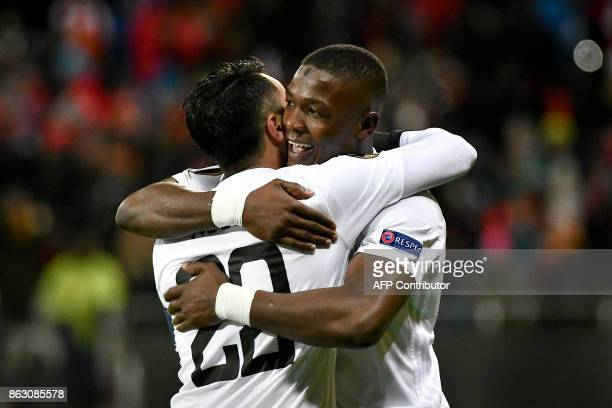 Ostersunds' forward from Nigeria Alhaji Gero celebrates scoring with Ostersunds' midfielder from Iraq Brwa Nouri during the UEFA Europa League group...