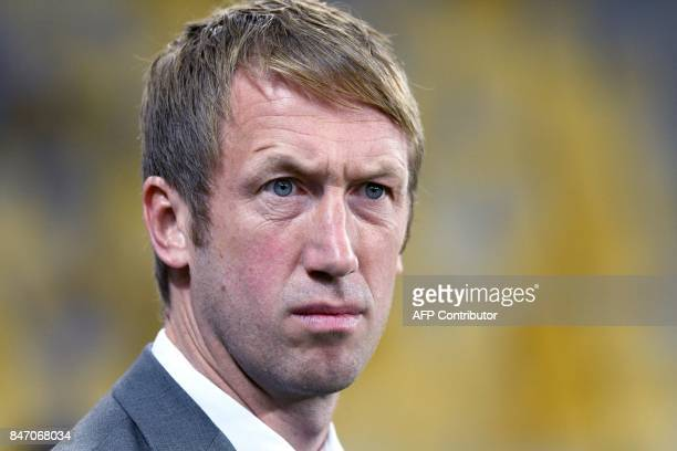 Ostersund's head coach Graham Potter looks on during the UEFA Europa League Group J football match between Zorya Lugansk and Ostersunds FK in Lviv on...