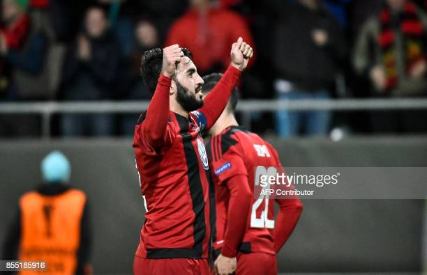 Ostersund's Iraqi midfielder Brwa Nouri celebrates after scoring a penalty during the UEFA Europa League group J football match between Ostersund FK...