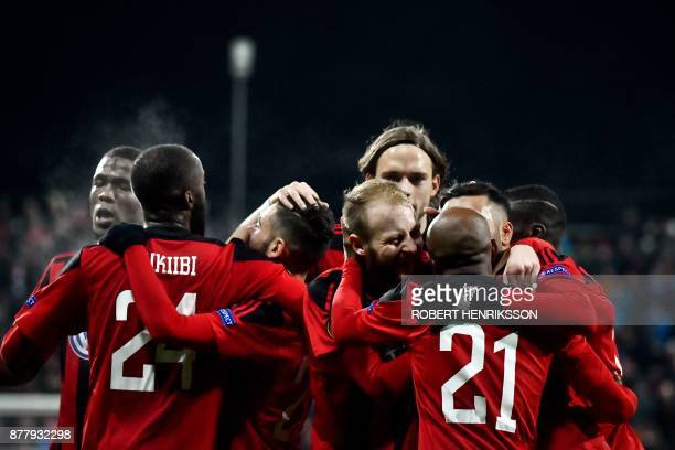 Ostersund's players celebrates scoring during the UEFA Europa League football match Ostersund FK v Zorya Lugansk on November 23 2017 in Ostersund...