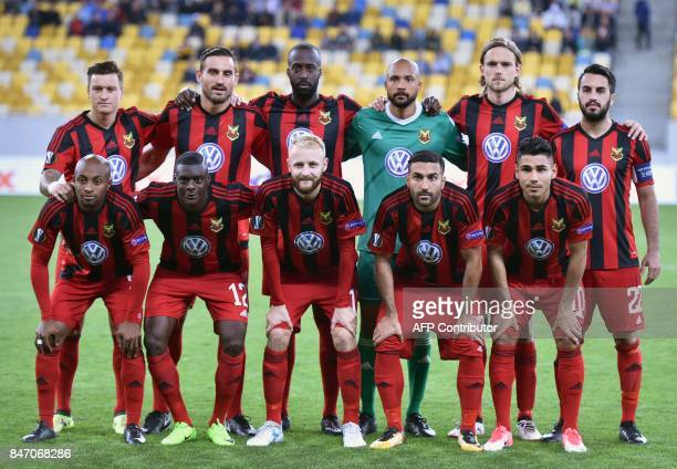 Ostersund's players pose for a photo before the UEFA Europa League Group J football match between Zorya Lugansk and Ostersunds FK in Lviv on...