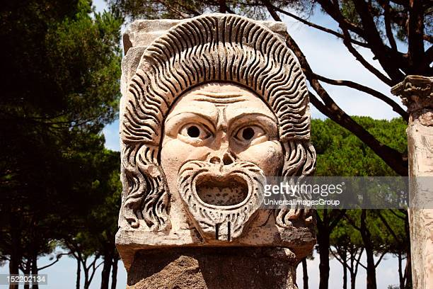 Ostia Antica Harbour city of ancient Rome Theatrical mask Italy Europe