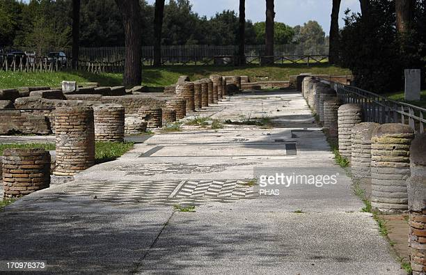 Ostia Antica Square of the Guilds or Corporations Overview Near Rome