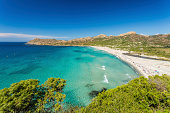 Ostriconi beach with the Desert des Agriates behind in the Balagne region of northern Corsica
