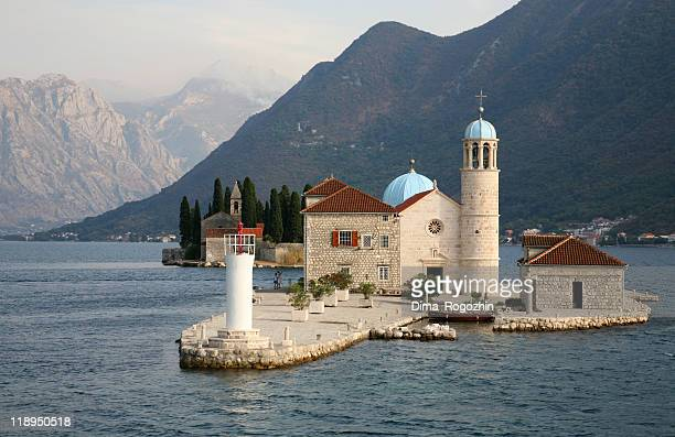 Two islands in Boko-Kotor Bay of Adriatic sea in Montenegro