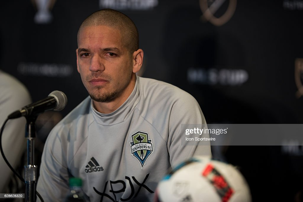 Osvaldo Alonso of Seattle Sounders answers a question during the MLS Cup Team Press Conference on December 8, 2016, at Kia Training Ground in Toronto, ON, Canada.