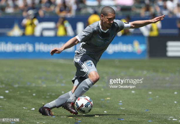 Osvaldo Alonso of Seattle Sounders controls the ball during the MLS match against the Los Angeles Galaxy at StubHub Center on April 23 2017 in Carson...