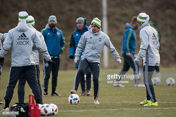 Osvaldo Alonso of Seattle Sounders warms up during the team's MLS Cup training session on December 8 at Kia Training Ground in Toronto ON Canada