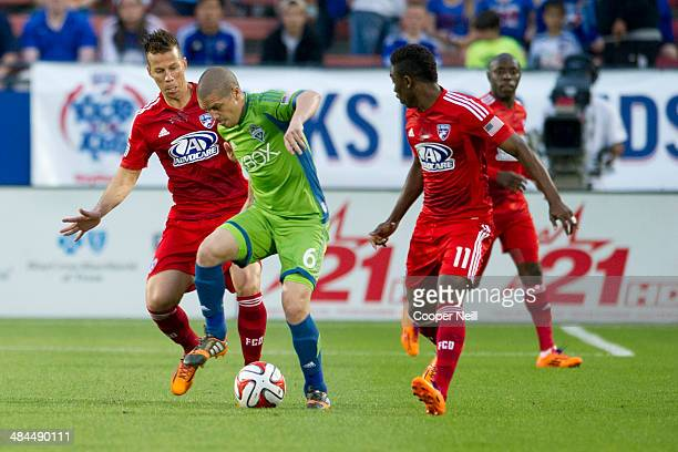 Osvaldo Alonso of the Seattle Sounders FC controls the ball against the FC Dallas on April 12 2014 at Toyota Stadium in Frisco Texas