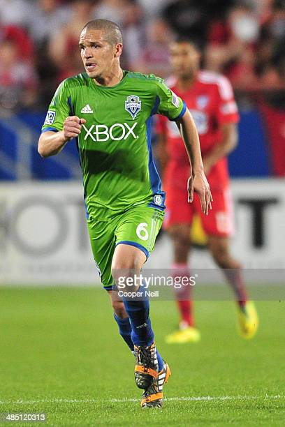 Osvaldo Alonso of the Seattle Sounders FC looks on against the FC Dallas on April 12 2014 at Toyota Stadium in Frisco Texas