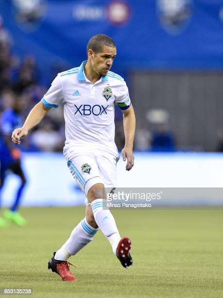 Osvaldo Alonso of the Seattle Sounders kicks during the MLS game against the Montreal Impact at Olympic Stadium on March 11 2017 in Montreal Quebec...
