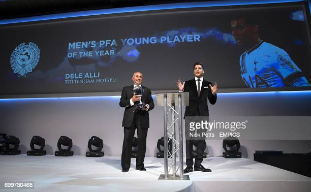 Osvaldo Ardiles accepts the PFA Young Player of the Year 2016 on behalf of Dele Alli during the PFA Awards at the Grosvenor House Hotel London