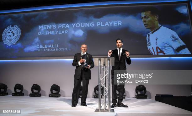 Osvaldo Ardiles accepts the PFA Young Player of the Year 2016 on behalf of Dele Alli