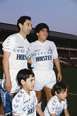 Osvaldo Ardiles and sons with Diego Maradona before Ardiles' testimonial match between Tottenham Hotspur and Inter Milan at White Hart Lane in July...