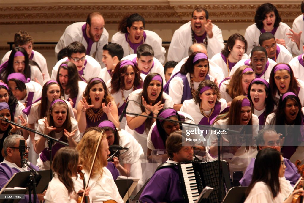 Osvaldo Golijov's 'La Pasion segun San Marcos' at Carnegie Hall on Sunday afternoon, March 10, 2013.This image:Choir group is made up of Schola Cantorum de Venezuela, Forest Hills High School Concert Choir, Frank Sinatra School of the Arts Concert Choir and Songs of Solomon.