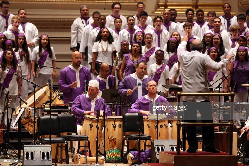 Osvaldo Golijov's 'La Pasion segun San Marcos' at Carnegie Hall on Sunday afternoon, March 10, 2013.This image:Roberto Spano leading Orquesta La Pasion and various choir groups.
