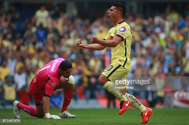 Osvaldo Martinez of America celebrates after scoring the first goal of his team during the 7th round match between America and Cruz Azul as part of...