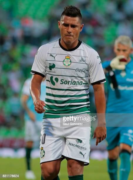 Osvaldo Martinez of Santos looks dejected after the 4th round match between Santos Laguna and Veracruz as part of the Torneo Apertura 2017 Liga MX on...